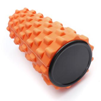 Yoga Physio Gym EVA Grid Foam Roller Pilates Back Massage Orange 32x12cm (Intl)