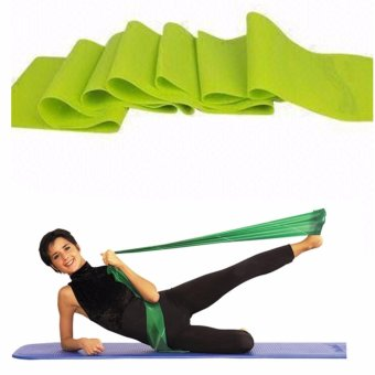 Yoga Rubber Stretch Resistance Exercise Workout Fitness Band(YellwGreen)