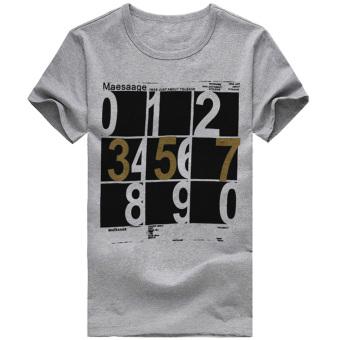 037 Men's Short Sleeve T-shirts Sudoku Printed Grey
