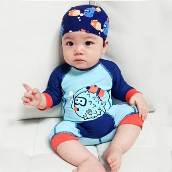 1-12Y Child Little Boy Swimsuit Rashguard Swim Set Summer One Piece Kids Baby Swimwear Bathing Suit Beach Wear (Hat+Suit) - intl