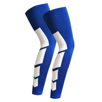 1 Pair Sports Silicone Antiskid Long Knee Support Brace Pad Protector Sport Basketball Leg Sleeve Sports Kneepad TX0001 Blue - intl Price Philippines