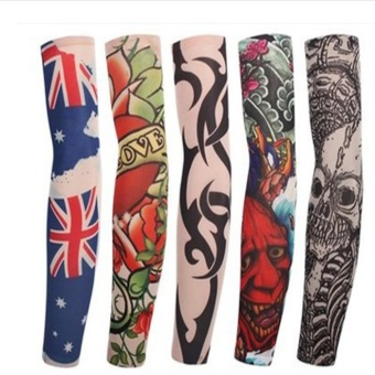 10 Arm Long Sleeve Seamless Sunscreen Fake Tattoo Sleeve Set-Ramdon - intl