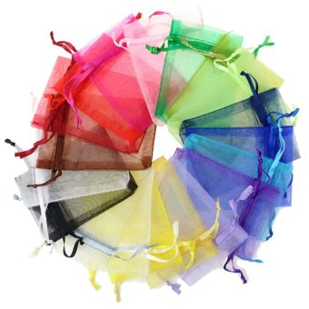 100 PCS Reusable Elegant Organza Drawstring Gift Candy Favor Bags Pouches for Wedding Party Festival Gift Jewelry Daily Cosmetic 2.8 x 3.5inch Multi Color - intl