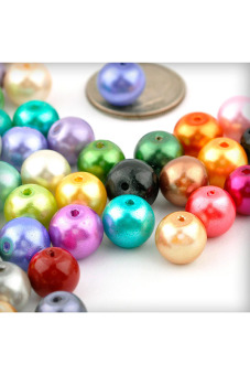 110pcs Round Glass Pearl Spacer Beads 8x8x8mm Assorted