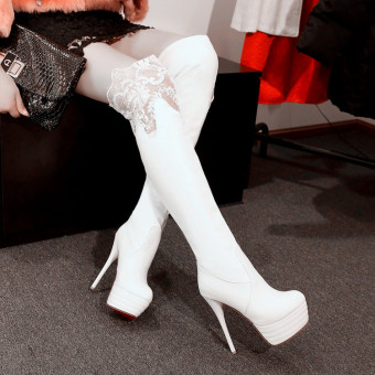 13cm sexy thin heeled female over-the-knee boots high-heeled boots (White)
