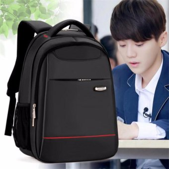 15 Inch Polyester Men's Shoulder Back Pack Men Business Laptop BagCollege Student Camputer Backpack School Bags High Quality FashionLuxury(Black) - intl - 2