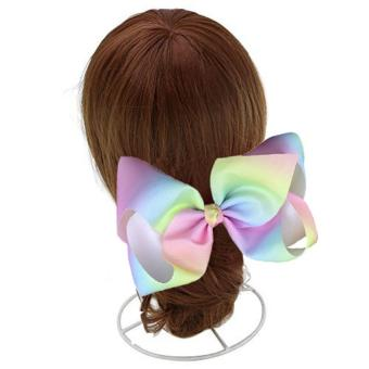 1PCS 7.9inch Big Bowknot Ribbon Rainbow Hair Bow with AlligatorClip Hair Clip Cheer Bow for Kids Women Girls - intl - 2
