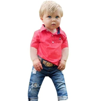1Set Kids Toddler Boys Handsome T-shirt+Denim Trousers PantsClothes Outfits - intl