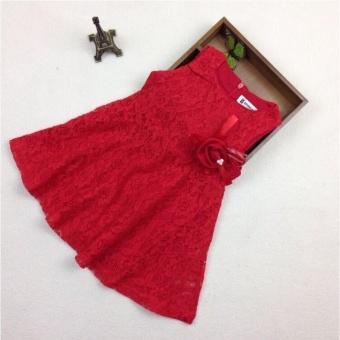 2-7Y Kids Girls Red A-Line Flower Lace Dresses Children Princess Party Wedding Ball Gown Dress - intl