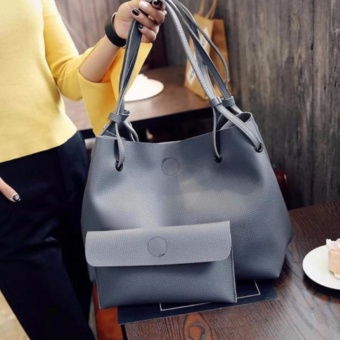 2 in 1 Large Casual Leather Bucket Shoulder Bag Office Bag Tote Bag (Dark Gray)