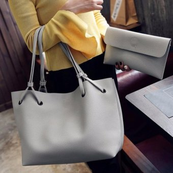 2 in 1 Large Casual Leather Bucket Shoulder Bag Office Bag Tote Bag (Light Gray)