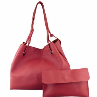 2 in 1 Large Casual Leather Bucket Shoulder Bag Office Bag Tote Bag (Maroon)