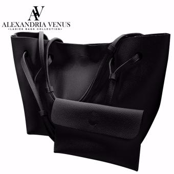 2 in 1 Large Korean Leather Bag Bucket Bag Fashion Bag Shoulder Bag Tote Bag Casual Shoulder Bag with Flat Pouch Alexandria (Black)
