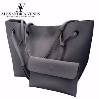 2 in 1 Large Korean Leather Bag Bucket Bag Fashion Bag Shoulder Bag Tote Bag Casual Shoulder Bag with Flat Pouch Alexandria (Dark gray)