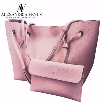 2 in 1 Large Korean Leather Bag Bucket Bag Fashion Bag Shoulder Bag Tote Bag Casual Shoulder Bag with Flat Pouch Alexandria (Pink)