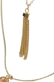 2-Layer Quartz and Tassel Chain Necklace (Gold/Pink) - picture 2