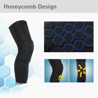 2 Pack Professional Compression Crashproof Support Honeycomb Long Knee Pads Protector for Basketball and other Team Sports Black - intl - 4