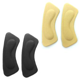 2 Pairs Fabric Foam Back Heel Grips Liner Cushion Sole Support Shoe Inserts (Beige and Black)