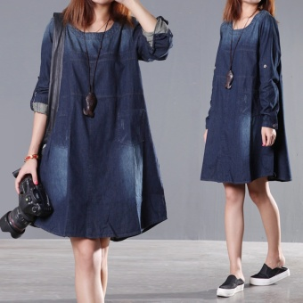 2015 Autumn New Arrival Plus Size Women Fashion Long-sleeved O-neck Denim Dress Casual Dress Vestidos 8390# - intl