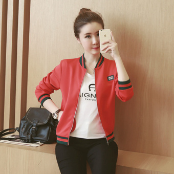 2016 Autumn Winter Long Sleeve Slim Jackets Vintage Stand CollarCeleb Bomber Coats Casual Solid Outwear(Black) - 3