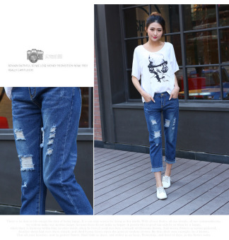 2016 Autumn Women Hole Jeans Denim Nine Pants (Dark Blue) - 4