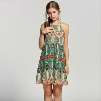 2016 Fashion Women Casual Spaghetti Strap Print A-Line Mini Dress