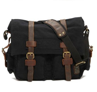 2016 Men Black Canvas And Real Leather Crossbody Bag Men Military Army Vintage Messenger Bags Sports Shoulder Bag Casual Travel Bags I AM LEGEND - Intl Price Philippines