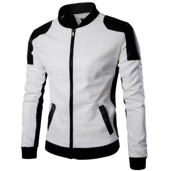 2016 Men Fashion Slim Leather Jacket Motorcycle Leather Zipper CoatStitching Leather Clothing for Men (White) - intl
