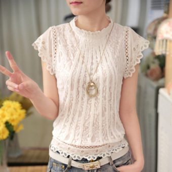 2016 New Fashion Ladies White Blusas Women's Short sleeve Chiffon Lace Crochet Tops Blouses Women Clothing Feminine Blouse - intl
