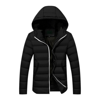 2016 New Fashion Men's Winter Warm Hooded Light Weight Down Jacket Coat (Black) - intl
