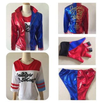 2016 NEW movie Suicide Squad Harley Quinn female clown cosplaycostume clothing halloween anime coat jacket one set uniform - Intl