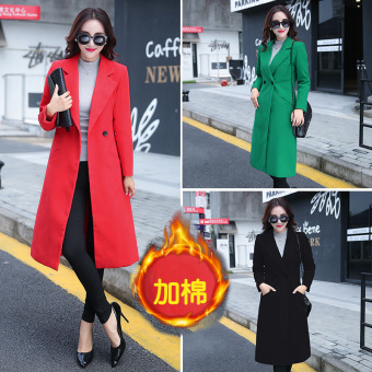 2016 new spring fashion casual women's wool coat outerwear female (Hong (thick plus cotton) Red)