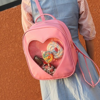 2016 new Summer Backpacks for Girls Candy Color Rucksack Bags Transparent Heart Backpacks Harajuku Bags For Teenager Girls XB461