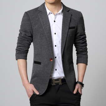 2016 Spring Autumn Men Jacket Male Casual Blazer Coat Slim fit SuitGrey - intl