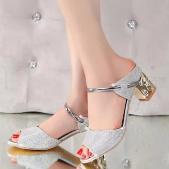 2016 Summer Fashion Womens Thick with Sandals Peep-Toe Causal Beach Shoes Silver