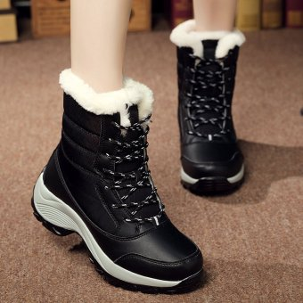 2016 Women Snow Boots Winter Warm Boots Thick Bottom Platform Waterproof Ankle Boots for Women Thick Fur Cotton Shoes (Black) - intl