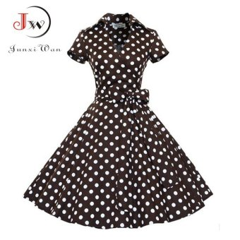 2017 Audrey Hepburn Summer Dress Women Polka Dot Vintage Swing RobeRockabilly Housewife Retro 50s Pinup Dresses Short Sleeve VestidosWQ0979 881 Brown - intl