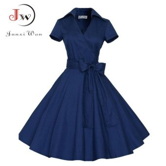2017 Audrey Hepburn Summer Dress Women Solid Color Vintage Swing Robe Rockabilly Housewife Retro 50s Pinup Dresses Short Sleeve Vestidos WQ0979 882 Blue - intl