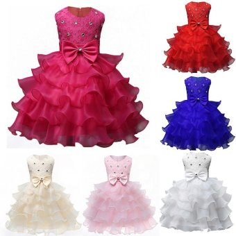 2017 Baby Christening Girl Dress Kids Ruffles Lace Dresses forGirls Princess Tutu Dress for Wedding Party Events Wear Girls(color:Rose) - intl