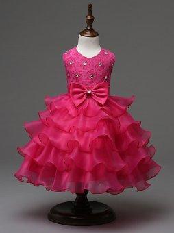 2017 Baby Christening Girl Dress Kids Ruffles Lace Dresses forGirls Princess Tutu Dress for Wedding Party Events Wear Girls(color:Rose) - intl - 2
