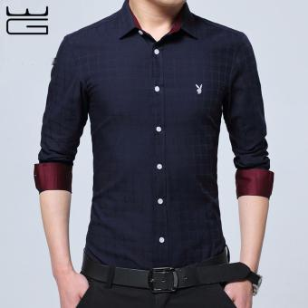 2017 Brand New Men Shirt Male Dress Shirts Men's Fashion CasualLong Sleeve Business Formal Shirt Camisa social masculina (NavyBlue) - intl