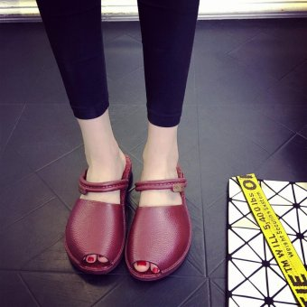 2017 fashion anti-skid new slippers female summer flat sets of feet sandals ladies leisure cool drag simple wild fish head shoes - intl - 3