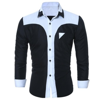 2017 Fashion Male Shirt Long-Sleeves Tops Fashion Youth Hit Color Mens Dress Shirts Slim Men Shirt 3XL - intl