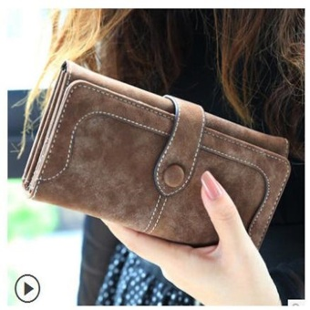 2017 Fashion Retro Matte Stitching Wallet Women Long Purse Clutch Women Casual Hasp Dollar Price Wallet Handbag Coffee - intl