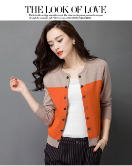 2017 high quality Spring/autumn sweater women cardigan sweater spell color loose double breasted women's cashmere sweater M(Orange) - intl