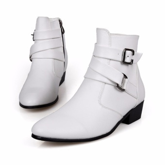 2017 Korean version of the men's high-heeled shoes pointed MartinKnight boots white casual shoes - intl