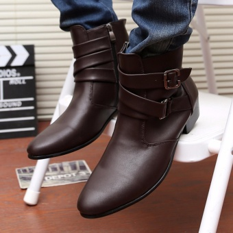2017 Korean version of the men's high-heeled shoes pointed MartinKnight boots white casual shoes - intl - 3