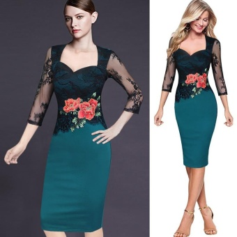2017 Large Size Elegant Embroidery Women Lake Blue Formal Dress -intl