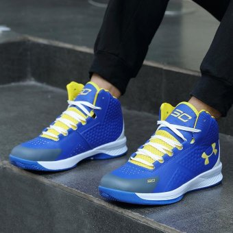 2017 Men Basketball Shoes Anti-Skid Shoes Basketball Boots OutdoorTraining Shoes Stephen Curry Sneakers ( Blue & Yellow ) - intl