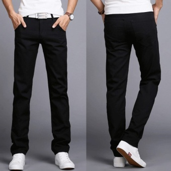 2017 Men Business Casual Slim Fit Pants Mid-Waist Solid TrousersFashion Mens Straight Cargo Pants Male Chino Lightweight -Black -intl Price Philippines